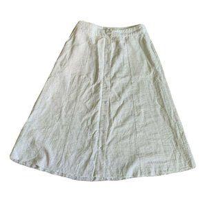 Mod Ref striped midi skirt linen cotton blend